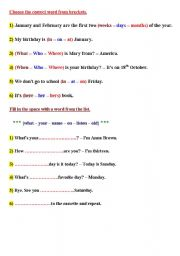 English Worksheets: Choose the correct word from brackets3