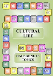 English Worksheets: Cultural life - a boardgame or pairwork (34 questions for discussion)