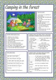 English Worksheet: CAMPING IN THE FOREST