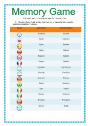 Memory Game: Countries and Nationalities with the verb
