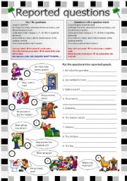English Worksheet: Reported speech: Reported questions