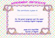 English Worksheets: achievement certifacte