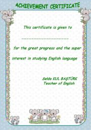 English Worksheets: achivement certificate2