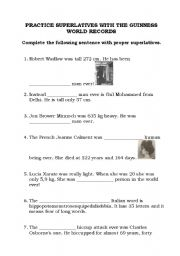 English Worksheet: Practice Superlative with Guinness World Records!