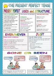 English Worksheets: PRESENT PERFECT ever/never/just  gone/been