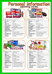 English Worksheets: Speaking cards. Set 3. Personal information