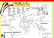 English Worksheet: World Cup Map