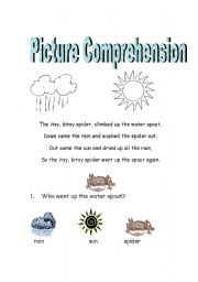 Itsy Bitsy Spider Picture Comprehension