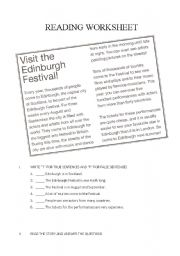 Reading worksheet - Visit the Edinburgh Festival