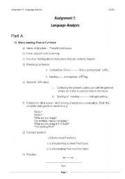 English Worksheets: assignment1 language analysis