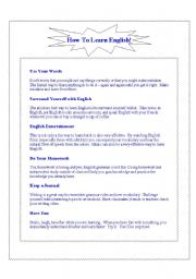 English Worksheets: How to Study English