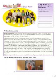 English Worksheets: Little Miss Sunshine�s crazy family_an evaluation for elementary students with answer key