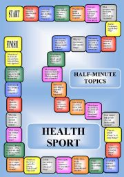 English Worksheets: Health and sport - a boardgame or pairwork (34 questions for discussion)