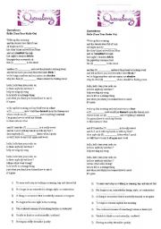 English worksheet: SONG - queensberry - hello (turn the radio on)