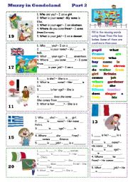 English Worksheet: Muzzy in Gondoland Part 2 - 3 tasks - 2 pages - fully editable