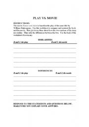 English worksheets: Romeo and Juliet movie worksheet