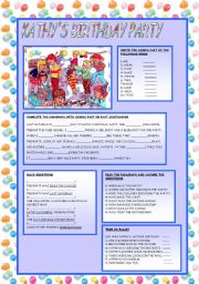 English Worksheet: KATHY�S BIRTHDAY PARTY