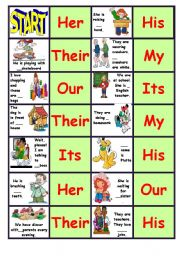 English Worksheet: Dominoes with Possessive Adjectives