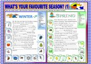 English Worksheets: WHAT�S YOUR FAVOURITE SEASON ? PART 1