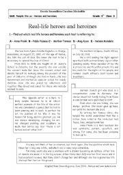 English Worksheet: Real life heroes