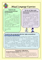 English Worksheets: Mixed Language Exercises (2 pages) with Key