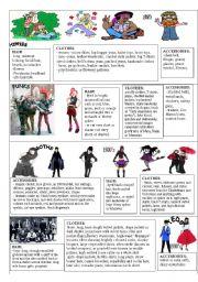 English Worksheet: YOUTH FASHION PICTIONARY