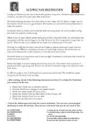English teaching worksheets: Beethoven