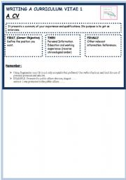 English Worksheet: HOW TO WRITE A CV