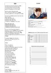 English Worksheets: Baby - Justin Bieber