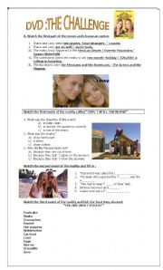 English Worksheet: THE CHALLENGE reality show