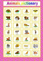 English Worksheets: 2-page animal PICTIONARY