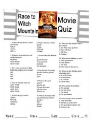 English Worksheet: Race to Witch Mountain Quiz - 3 different quizzes for different levels