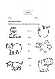 English worksheet: Alphabet match ( vowels and consonants)