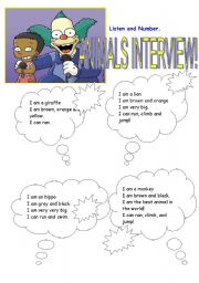 English Worksheets: Animals Interview