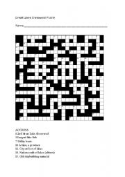 English Worksheets Great Lakes Crossword