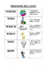 relative pronouns where who which when why how esl worksheet by