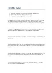 English Worksheet: into the wild