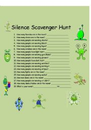 English Worksheet: Silence Scavenger Hunt