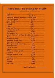 English Worksheets: Personal Scavenger Hunt