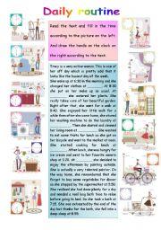 English worksheet: Daily routine part 2