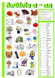 English Worksheet: Article A / An  (B/W)