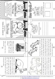 English Worksheet: Aesop´s Fables: The Hares and the Frogs [ Mini-book ]