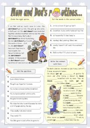 English Worksheets: MUM AND DAD� ROUTINES