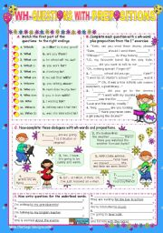 English Worksheets: Basic Wh-Questions (2)  with Prepositions at the end