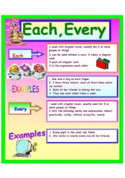 English Worksheets: Each, Every