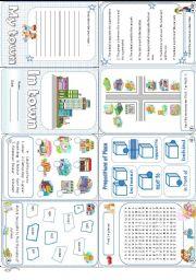 English Worksheet: In town minibook