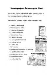 Newspaper Scavenger Hunt - worksheet by Tiffany Schumacher