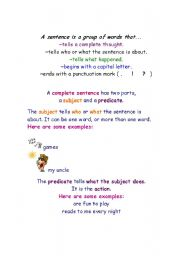 English Worksheets: Different parts of a sentence