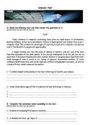 English Worksheet: Computers and robots