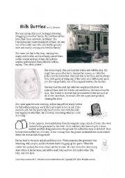 English Worksheet: Ghost Story: Milk Bottles Reading and Worksheet Packet